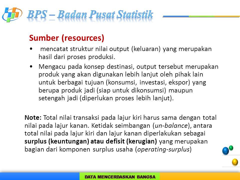 Sumber (resources) mencatat struktur nilai output (keluaran) yang merupakan hasil dari proses produksi.