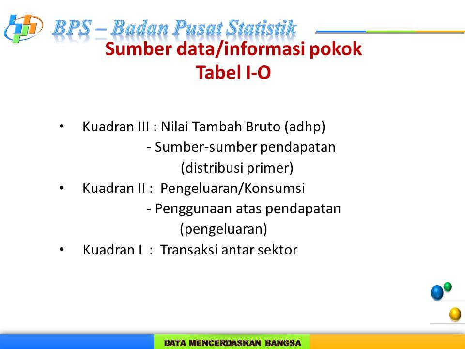 Sumber data/informasi pokok Tabel I-O