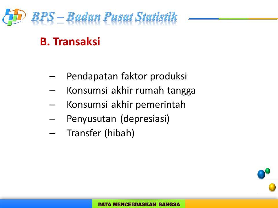 B. Transaksi Pendapatan faktor produksi Konsumsi akhir rumah tangga