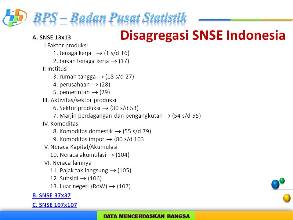 Disagregasi SNSE Indonesia
