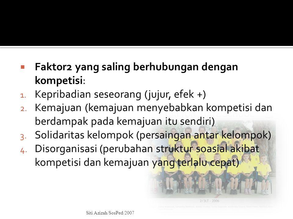 Faktor2 yang saling berhubungan dengan kompetisi: