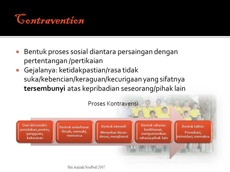 Contravention Bentuk proses sosial diantara persaingan dengan pertentangan /pertikaian.