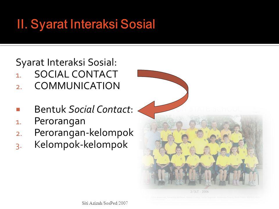 II. Syarat Interaksi Sosial