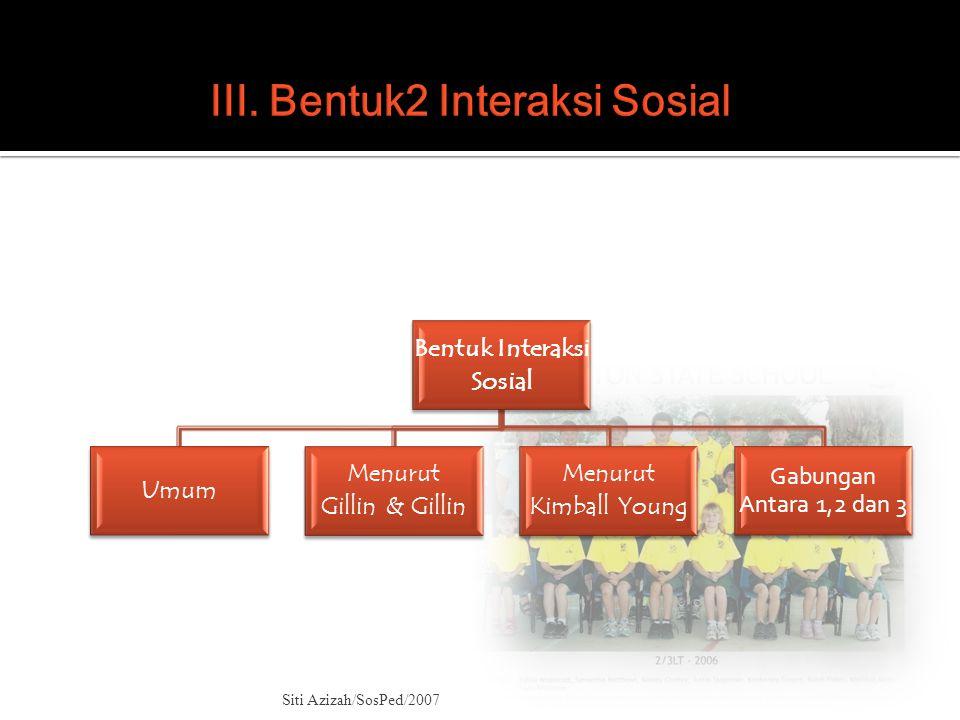III. Bentuk2 Interaksi Sosial