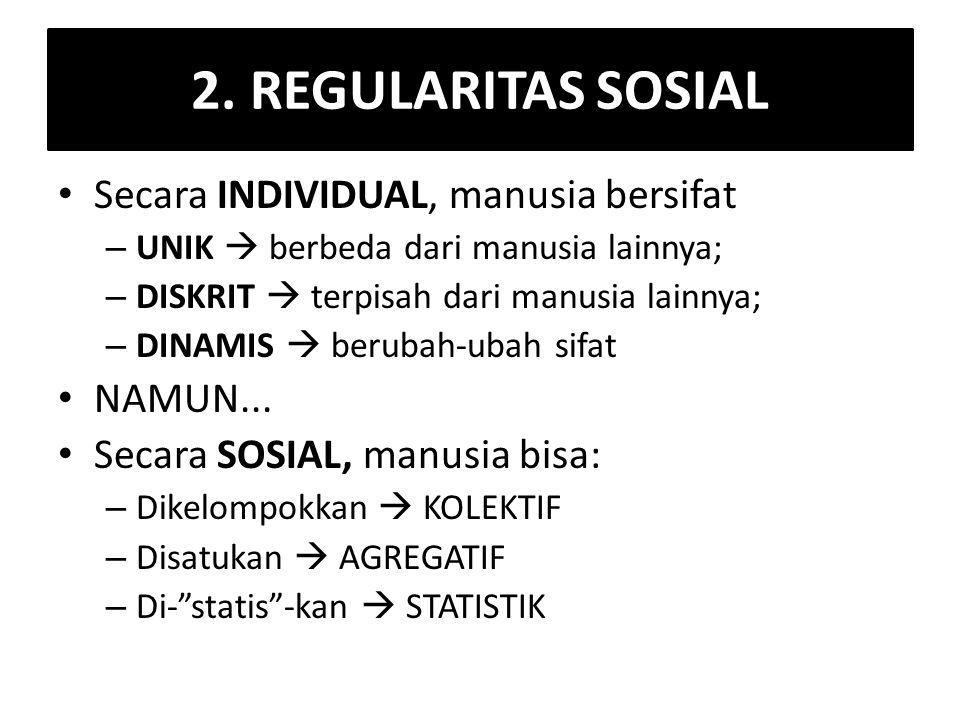 2. REGULARITAS SOSIAL Secara INDIVIDUAL, manusia bersifat NAMUN...