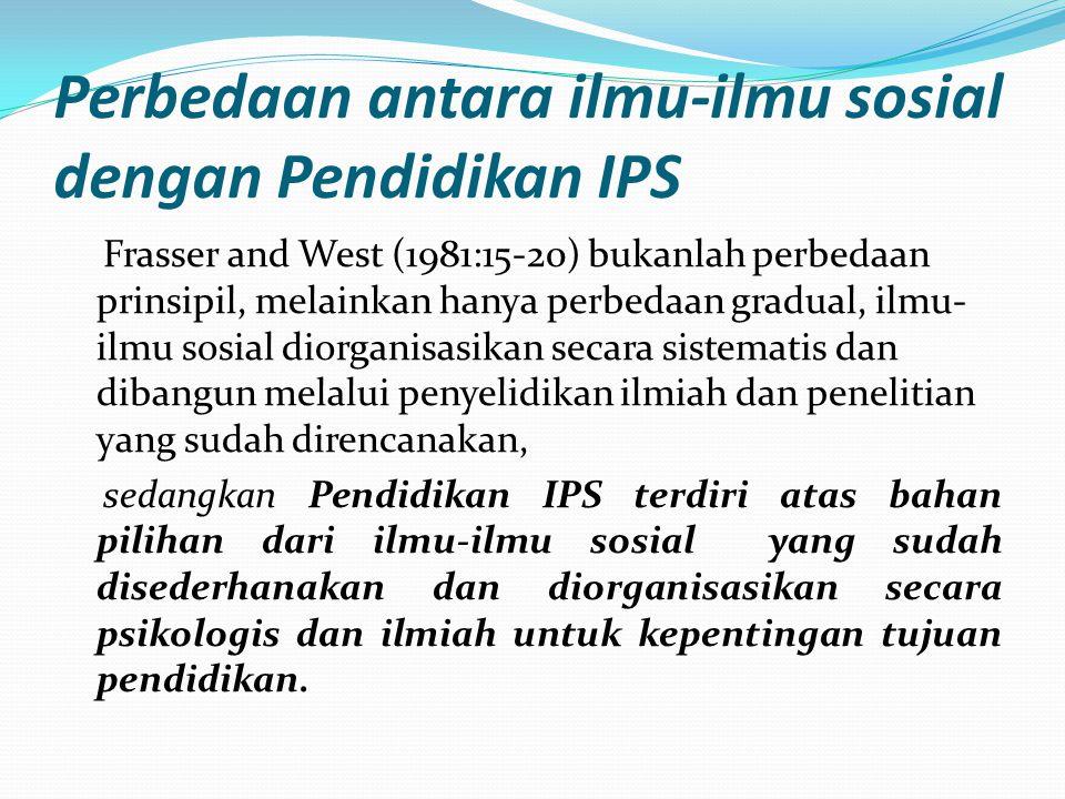 Perbedaan antara ilmu-ilmu sosial dengan Pendidikan IPS