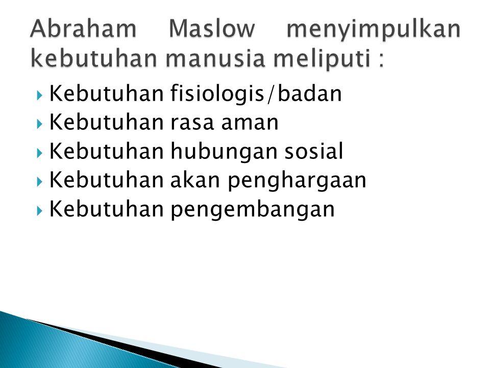 Abraham Maslow menyimpulkan kebutuhan manusia meliputi :