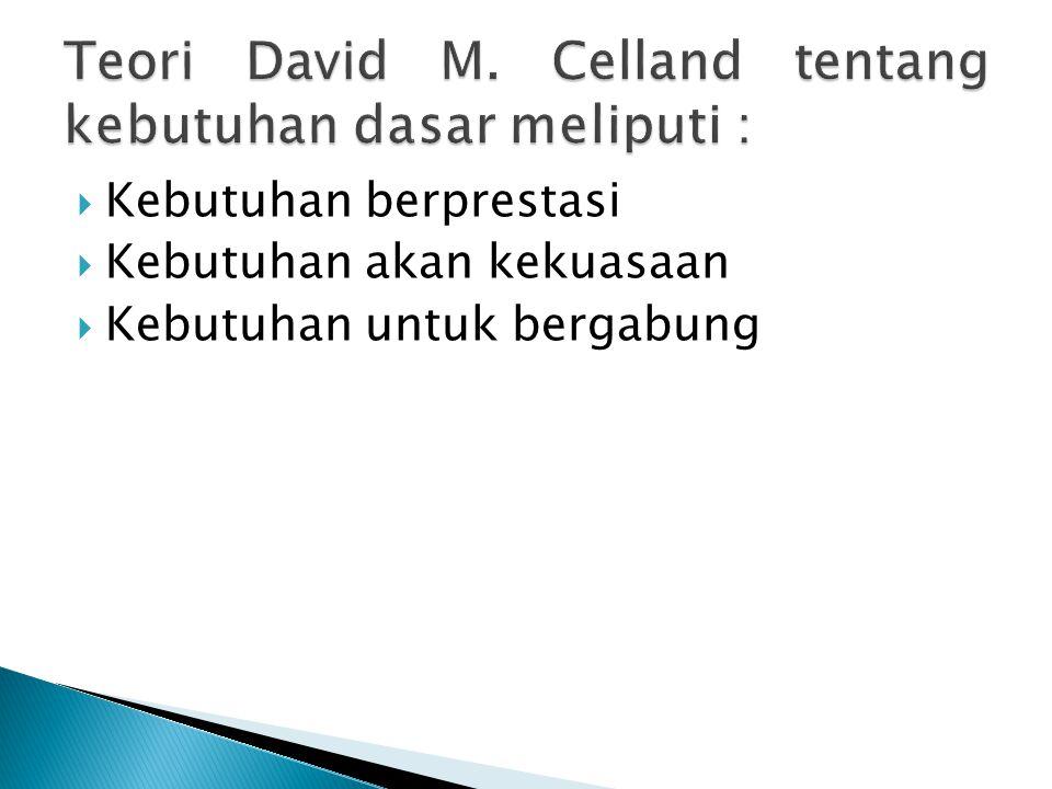 Teori David M. Celland tentang kebutuhan dasar meliputi :