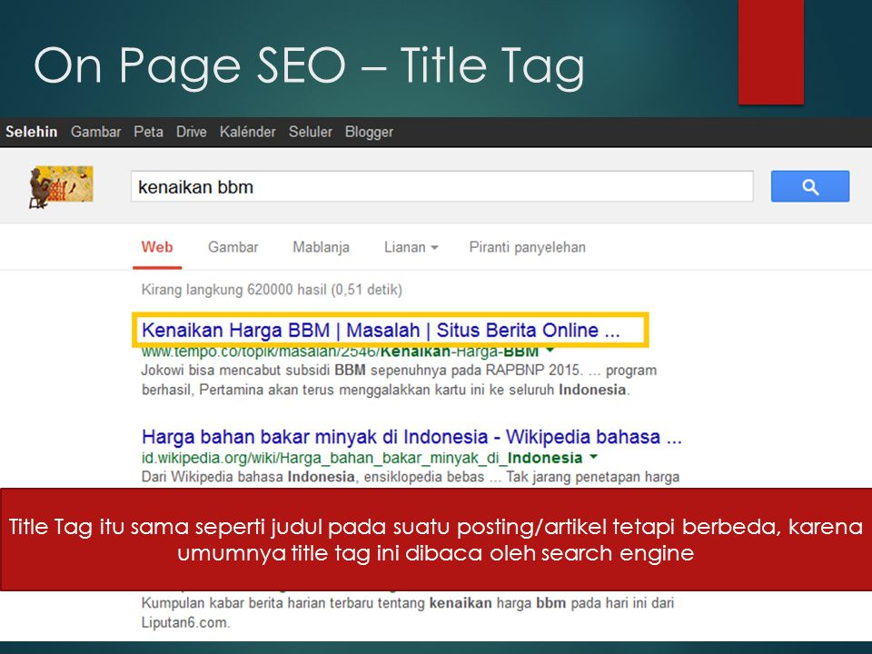 On Page SEO – Title Tag