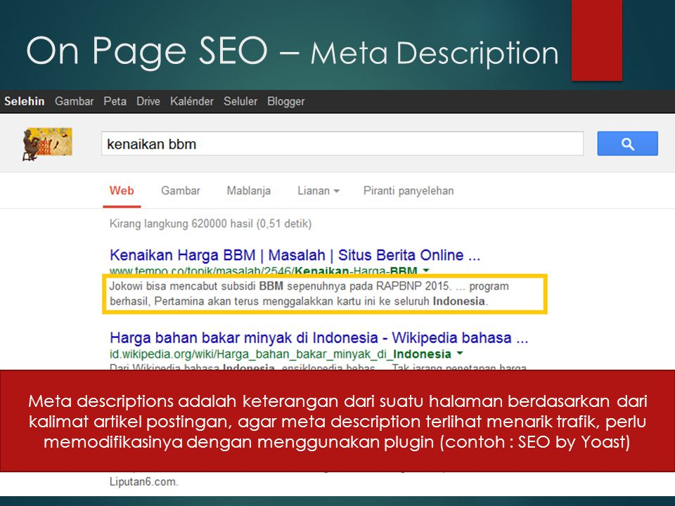 On Page SEO – Meta Description