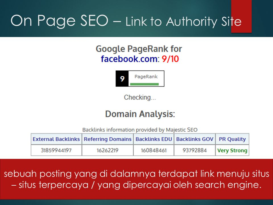 On Page SEO – Link to Authority Site