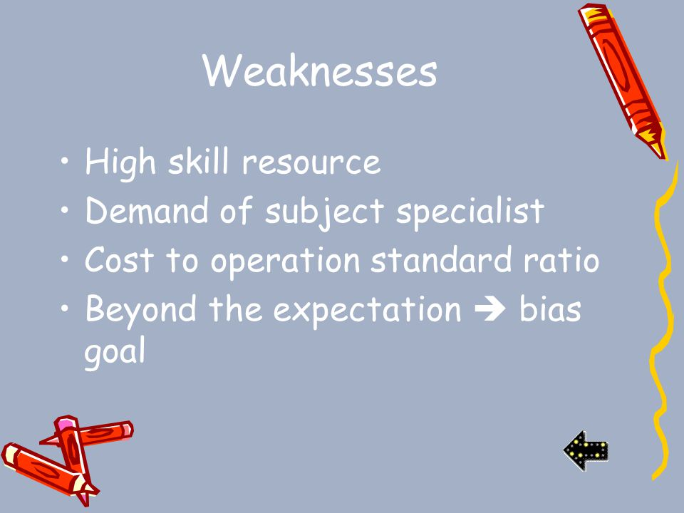 Weaknesses High skill resource Demand of subject specialist