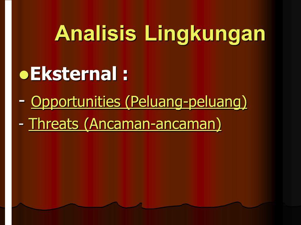Analisis Lingkungan Eksternal : - Opportunities (Peluang-peluang)