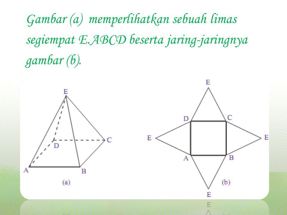 Gambar (a) memperlihatkan sebuah limas segiempat E