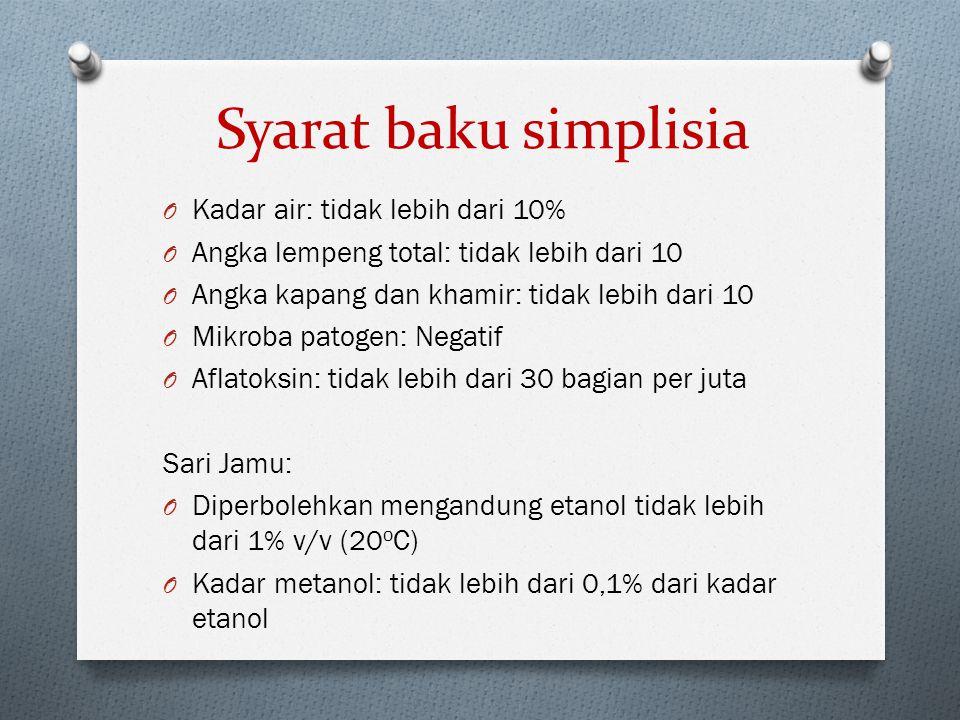 Syarat baku simplisia Kadar air: tidak lebih dari 10%