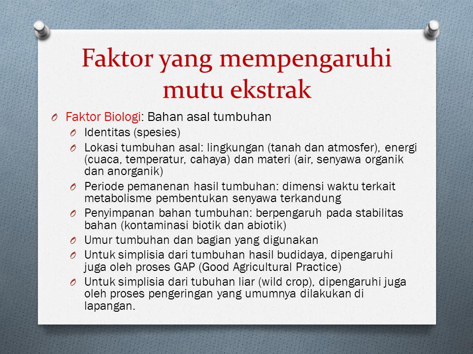 Faktor yang mempengaruhi mutu ekstrak