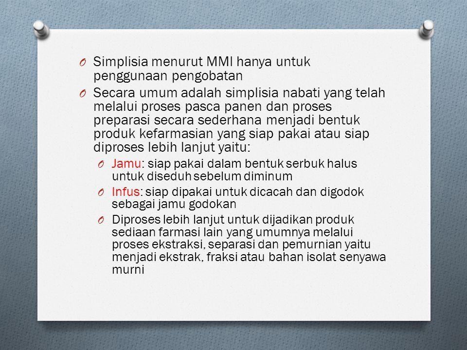Simplisia menurut MMI hanya untuk penggunaan pengobatan
