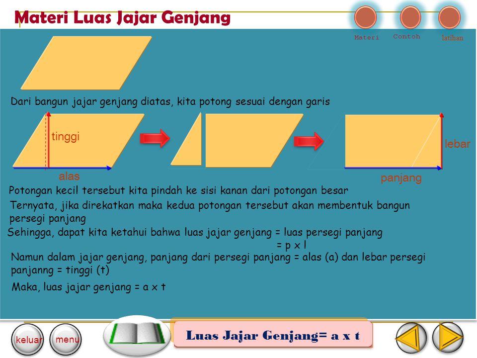 Luas Jajar Genjang= a x t