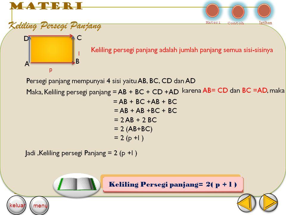 Keliling Persegi panjang= 2( p + l )