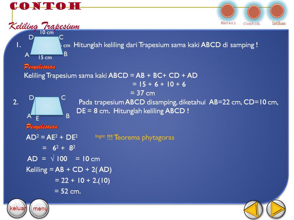 CONTOH Keliling Trapesium latihan keluar menu