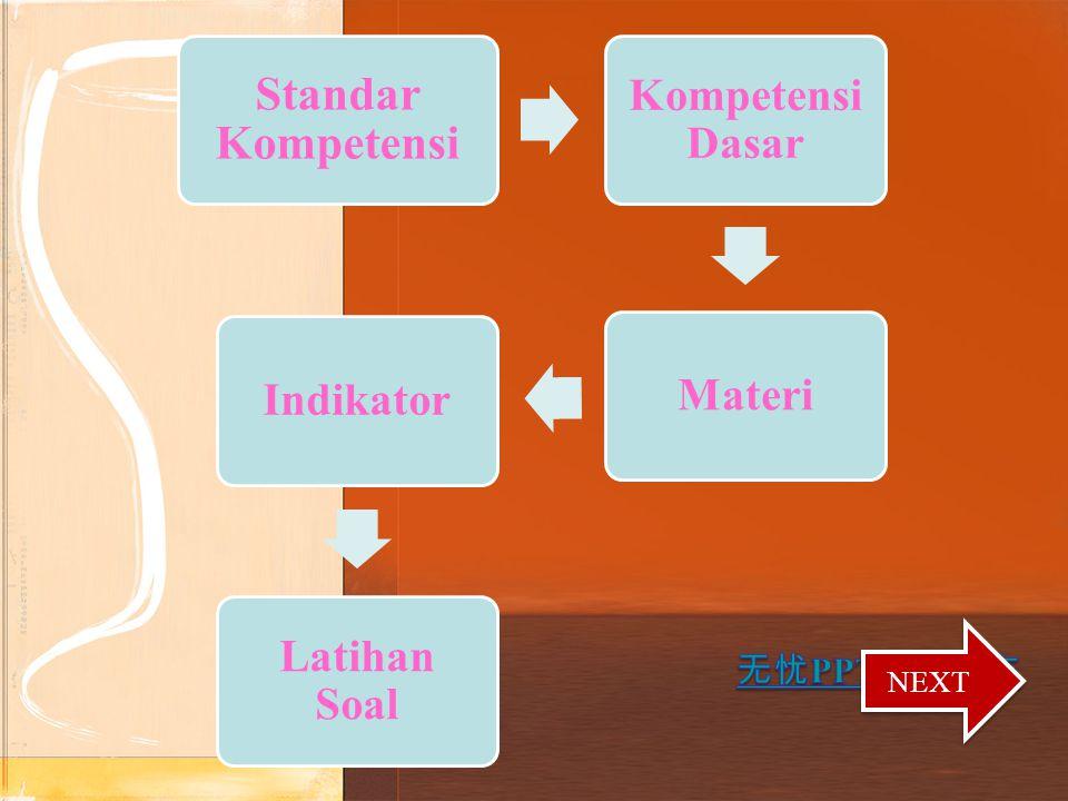 Standar Kompetensi Kompetensi Dasar Materi Indikator Latihan Soal NEXT
