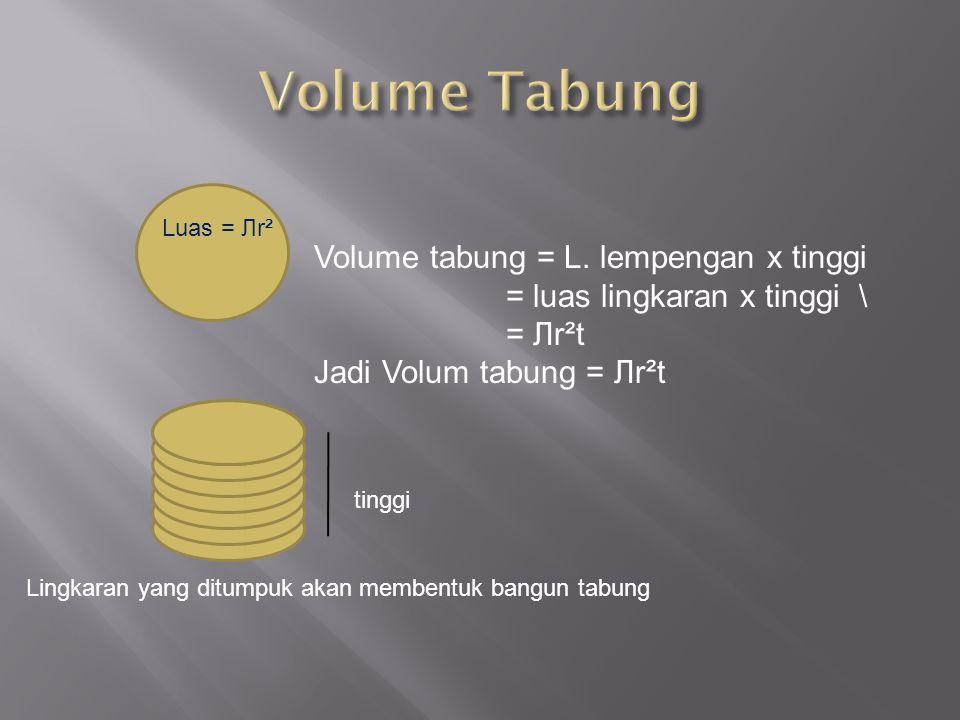 Volume Tabung Volume tabung = L. lempengan x tinggi