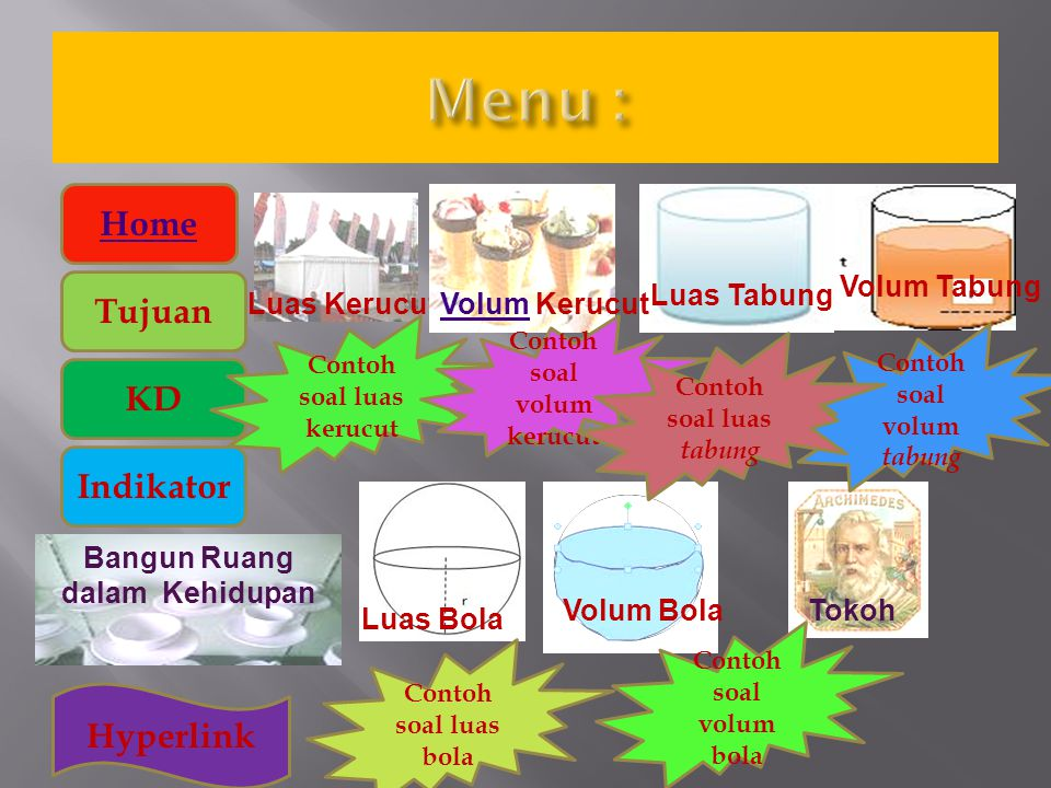 Menu : Home Tujuan KD Indikator Hyperlink Volum Tabung Luas Tabung