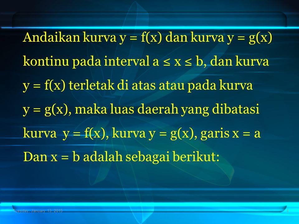 Andaikan kurva y = f(x) dan kurva y = g(x)