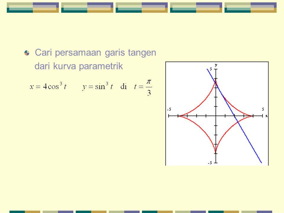 Cari persamaan garis tangen