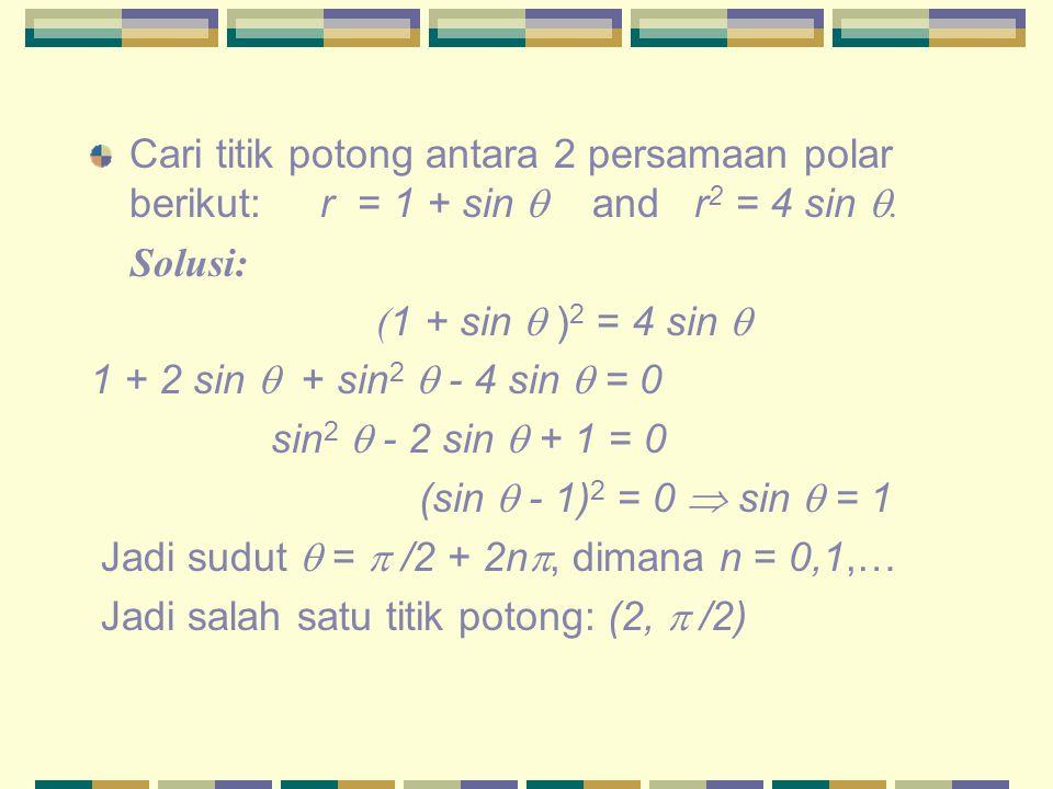 Cari titik potong antara 2 persamaan polar berikut: r = 1 + sin  and r2 = 4 sin .