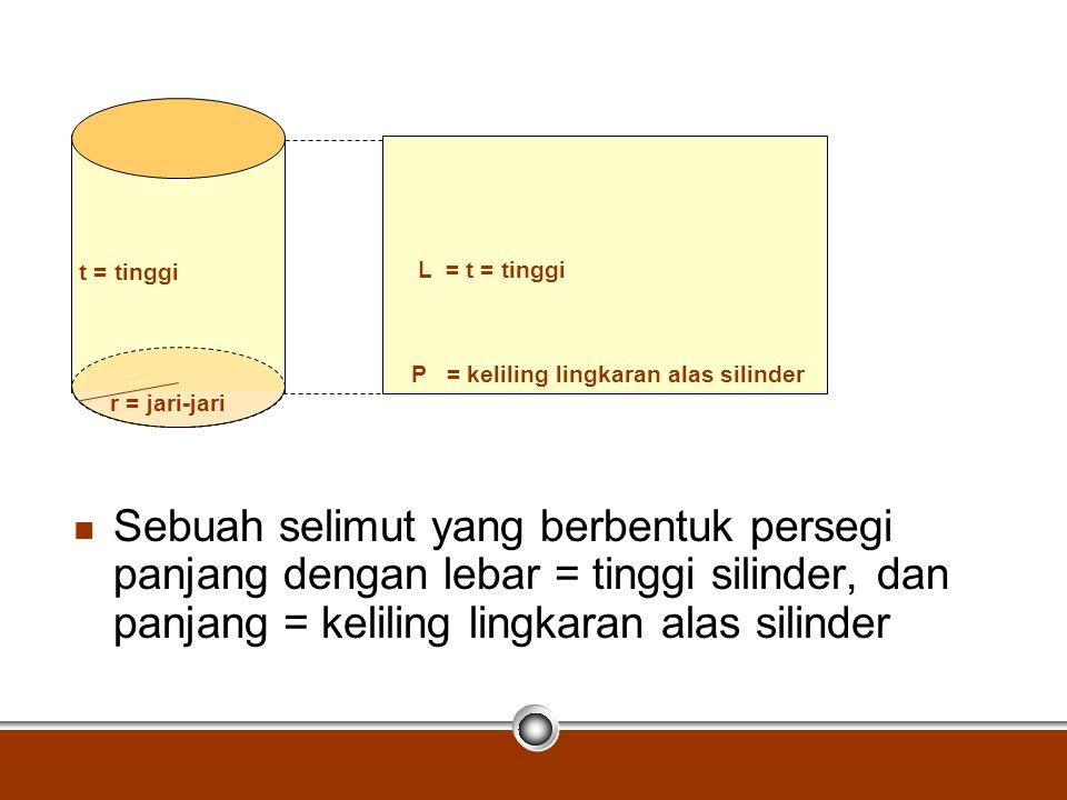 t = tinggi L = t = tinggi. P = keliling lingkaran alas silinder. r = jari-jari.