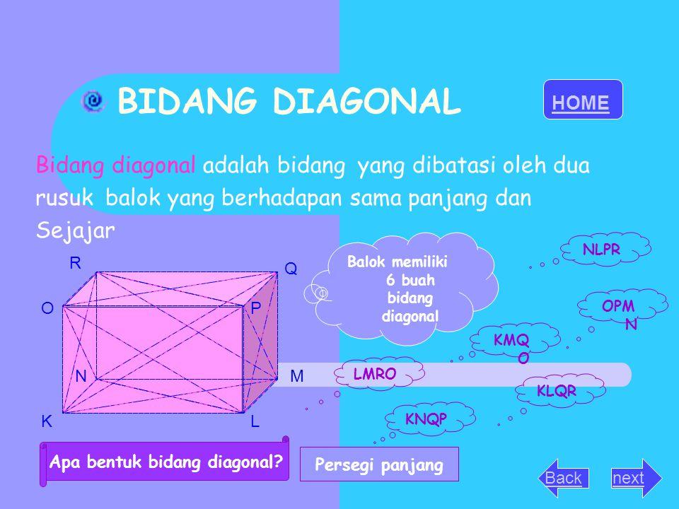 Balok memiliki 6 buah bidang diagonal Apa bentuk bidang diagonal