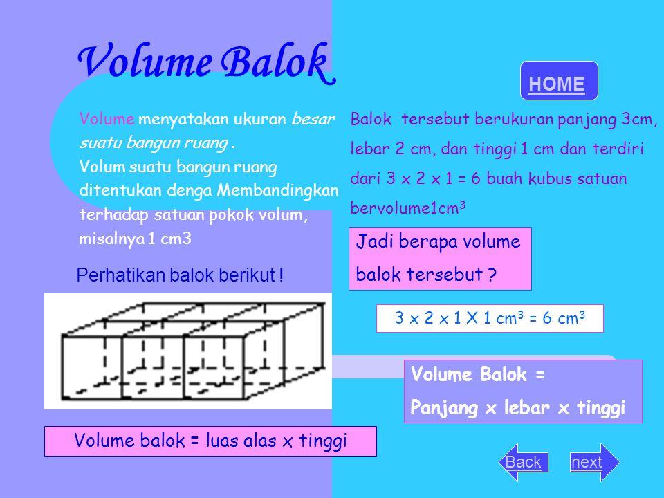 Volume Balok HOME Jadi berapa volume balok tersebut