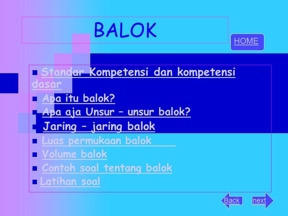 BALOK Standar Kompetensi dan kompetensi dasar Jaring – jaring balok
