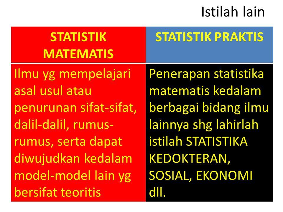Istilah lain STATISTIK MATEMATIS STATISTIK PRAKTIS
