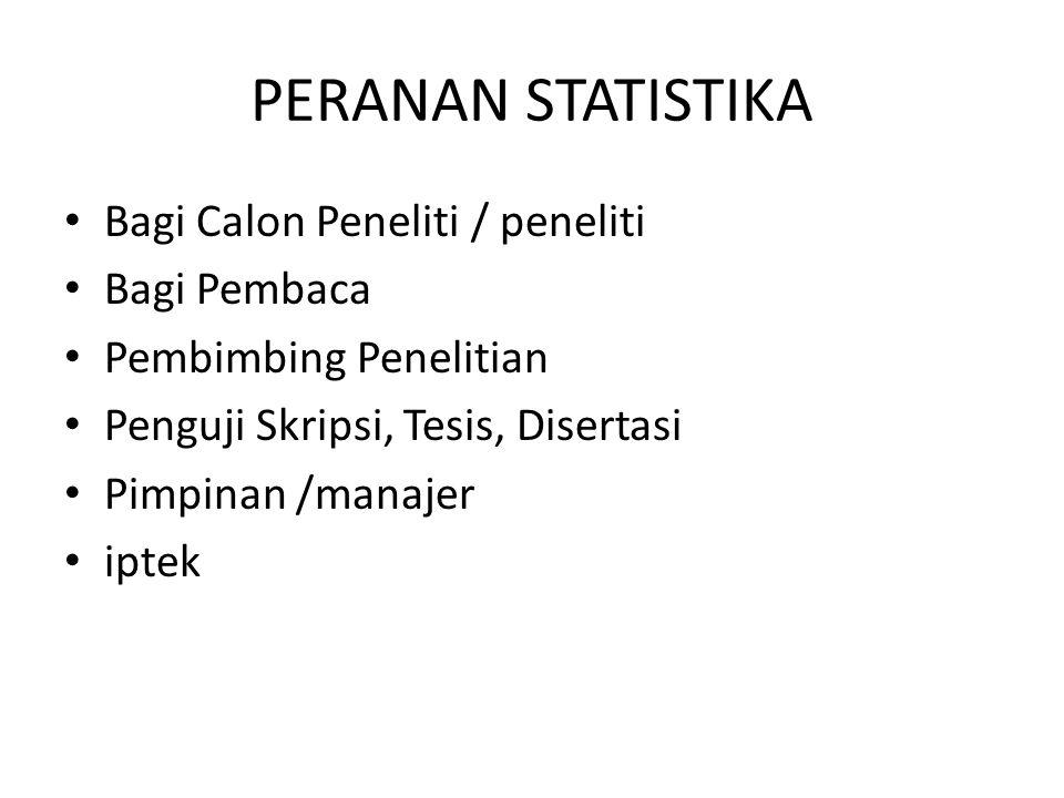 PERANAN STATISTIKA Bagi Calon Peneliti / peneliti Bagi Pembaca