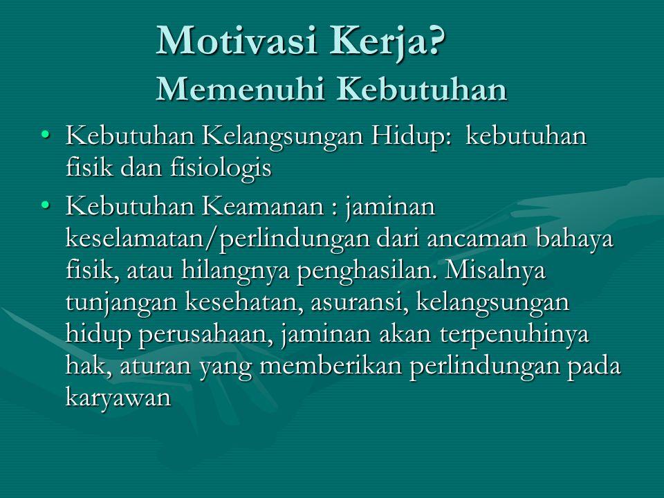 Motivasi Kerja Memenuhi Kebutuhan