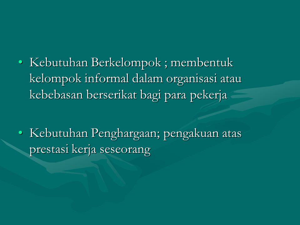 Kebutuhan Berkelompok ; membentuk kelompok informal dalam organisasi atau kebebasan berserikat bagi para pekerja