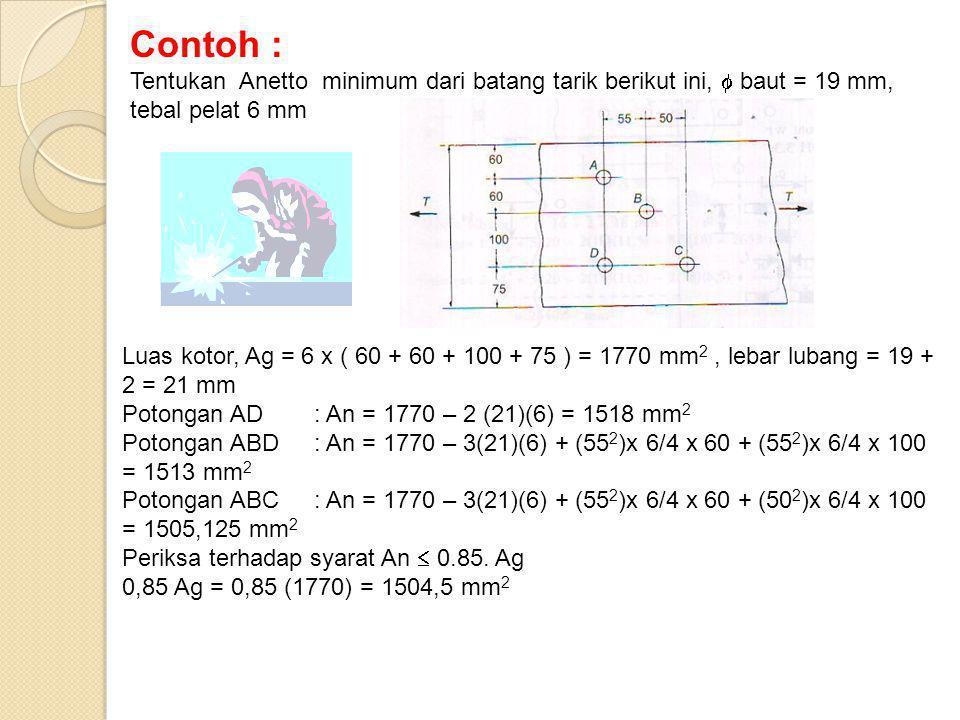 Contoh : Tentukan Anetto minimum dari batang tarik berikut ini,  baut = 19 mm, tebal pelat 6 mm.