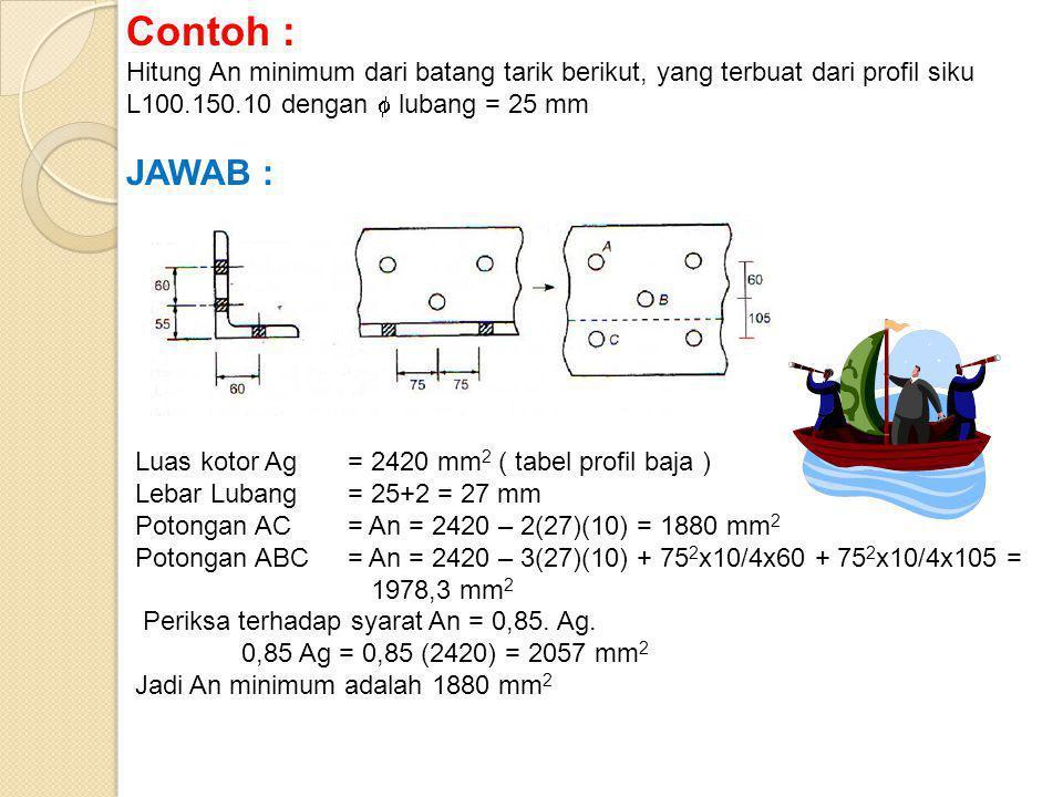 Contoh : Hitung An minimum dari batang tarik berikut, yang terbuat dari profil siku L100.150.10 dengan  lubang = 25 mm.