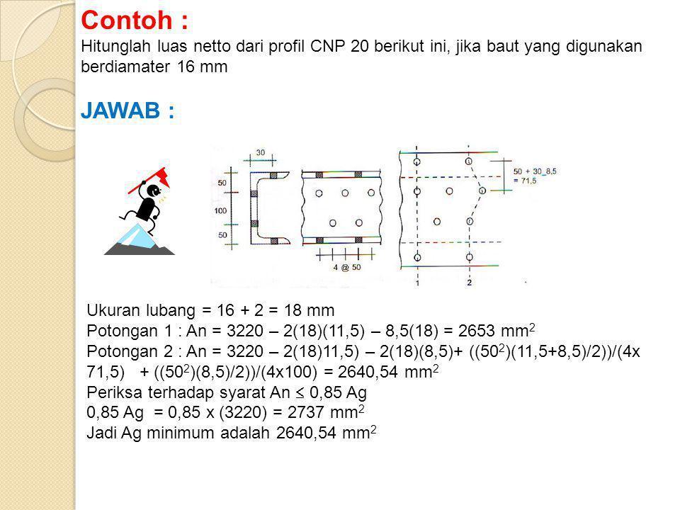 Contoh : Hitunglah luas netto dari profil CNP 20 berikut ini, jika baut yang digunakan berdiamater 16 mm.