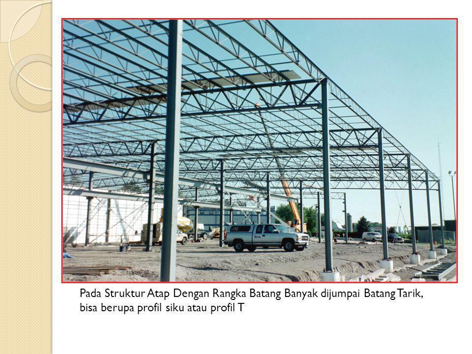 Pada Struktur Atap Dengan Rangka Batang Banyak dijumpai Batang Tarik, bisa berupa profil siku atau profil T