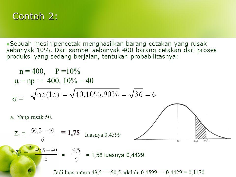 Contoh 2: n = 400, P =10%  = np = 400. 10% = 40  = = 1,75