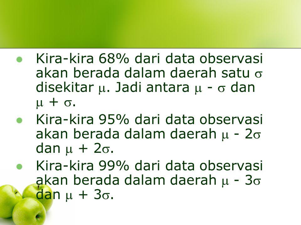 Kira-kira 68% dari data observasi akan berada dalam daerah satu  disekitar . Jadi antara  -  dan  + .