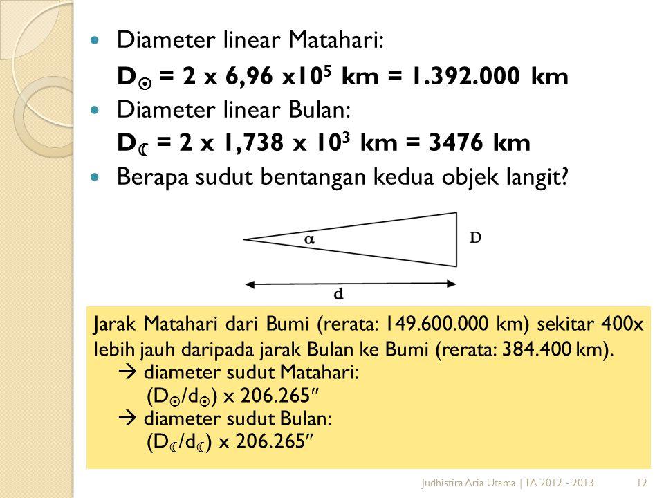 Diameter linear Matahari: D = 2 x 6,96 x105 km = 1.392.000 km