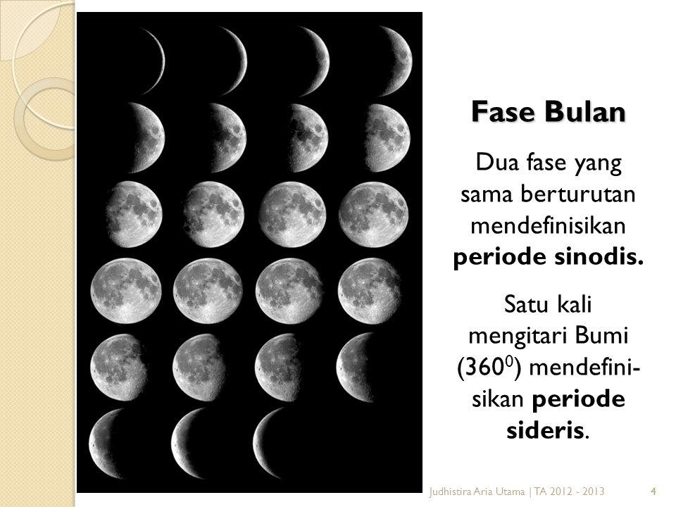 Fase Bulan Dua fase yang sama berturutan mendefinisikan periode sinodis. Satu kali mengitari Bumi (3600) mendefini-sikan periode sideris.