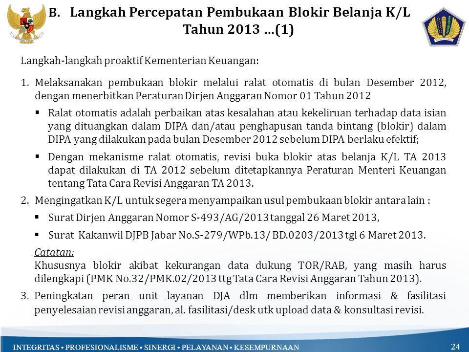Langkah Percepatan Pembukaan Blokir Belanja K/L Tahun 2013 ...(1)