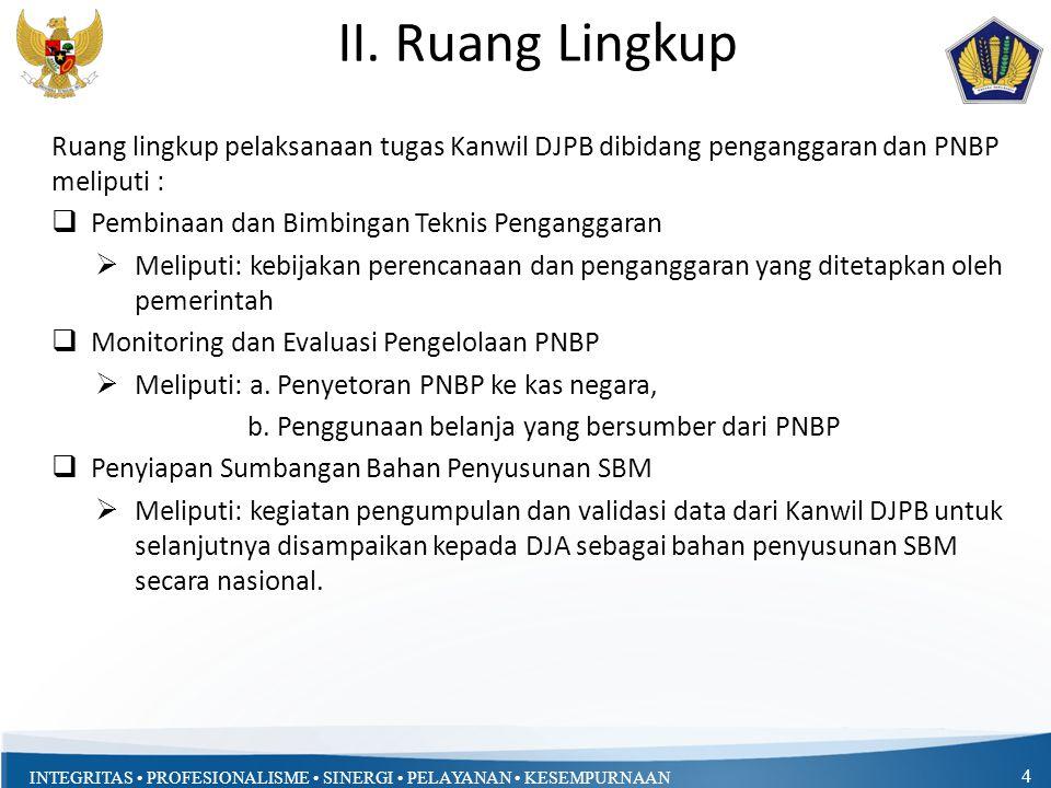 II. Ruang Lingkup Ruang lingkup pelaksanaan tugas Kanwil DJPB dibidang penganggaran dan PNBP meliputi :