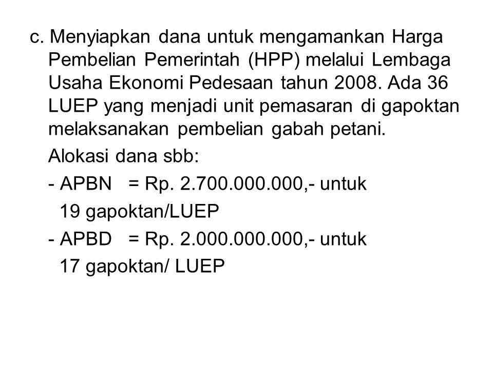 c. Menyiapkan dana untuk mengamankan Harga Pembelian Pemerintah (HPP) melalui Lembaga Usaha Ekonomi Pedesaan tahun 2008. Ada 36 LUEP yang menjadi unit pemasaran di gapoktan melaksanakan pembelian gabah petani.
