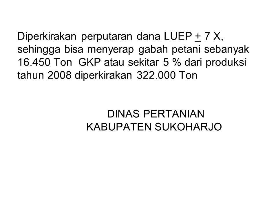 Diperkirakan perputaran dana LUEP + 7 X, sehingga bisa menyerap gabah petani sebanyak 16.450 Ton GKP atau sekitar 5 % dari produksi tahun 2008 diperkirakan 322.000 Ton DINAS PERTANIAN KABUPATEN SUKOHARJO